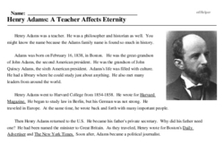 Print <i>Henry Adams: A Teacher Affects Eternity</i> reading comprehension.