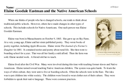 Print <i>Elaine Goodale Eastman and the Native American Schools</i> reading comprehension.