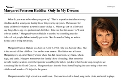Print <i>Margaret Peterson Haddix: Only In My Dreams</i> reading comprehension.