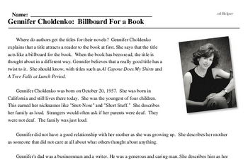Gennifer Choldenko: Billboard For a Book