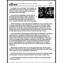 Print <i>Laura Towne</i> reading comprehension.