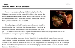 BUBBLE BLOWERS' DAY<BR>Bubble Artist Keith Johnson