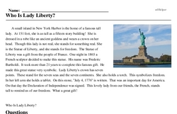 Print <i>Who Is Lady Liberty?</i> reading comprehension.