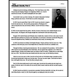 Print <i>Abraham Lincoln, Part 2</i> reading comprehension.