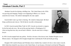 Print <i>Abraham Lincoln, Part 2</i> reading comprehension.