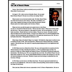 Print <i>The Life of Barack Obama</i> reading comprehension.