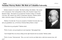 Print <i>Nicholas Murray Butler: His Role at Columbia University</i> reading comprehension.