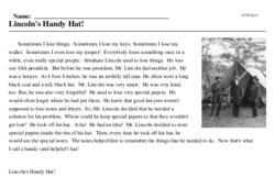Print <i>Lincoln's Handy Hat!</i> reading comprehension.