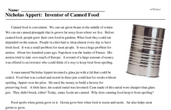 Print <i>Nicholas Appert: Inventor of Canned Food</i> reading comprehension.