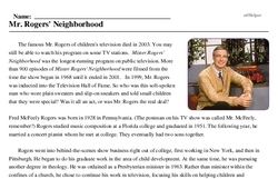 Print <i>Mr. Rogers' Neighborhood</i> reading comprehension.