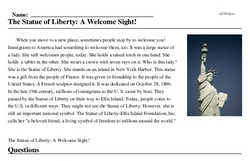 Print <i>The Statue of Liberty: A Welcome Sight!</i> reading comprehension.
