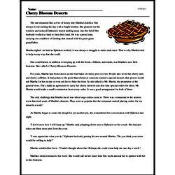Print <i>Cherry Blossom Desserts</i> reading comprehension.