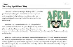 Print <i>Surviving April Fools' Day</i> reading comprehension.