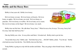Print <i>Bobby and the Buzzy Bees</i> reading comprehension.