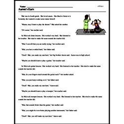 Print <i>Aaron's Ears</i> reading comprehension.