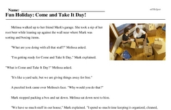 Print <i>Fun Holiday: Come and Take It Day!</i> reading comprehension.