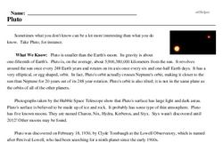 Print <i>Pluto</i> reading comprehension.