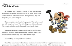 Print <i>Talk Like a Pirate</i> reading comprehension.