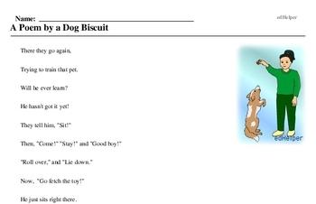 Print <i>A Poem by a Dog Biscuit</i> reading comprehension.