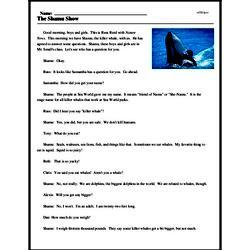 Print <i>The Shamu Show</i> reading comprehension.