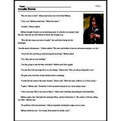 Print <i>Arcadia Brown</i> reading comprehension.