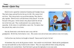 Print <i>Derek's Quiet Day</i> reading comprehension.