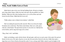 Print <i>Tick, Tock! Eddie Gets a Clock</i> reading comprehension.
