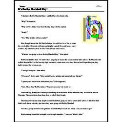 Print <i>It's Bobby Marshall Day!</i> reading comprehension.