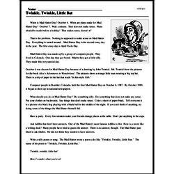 Print <i>Twinkle, Twinkle, Little Bat</i> reading comprehension.