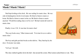 Print <i>Music! Music! Music!</i> reading comprehension.