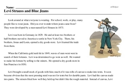 Print <i>Levi Strauss and Blue Jeans</i> reading comprehension.