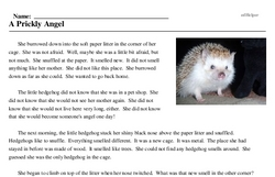 Print <i>A Prickly Angel</i> reading comprehension.