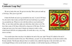 Print <i>Celebrate Leap Day!</i> reading comprehension.