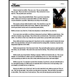 Print <i>Pet Rabbits</i> reading comprehension.