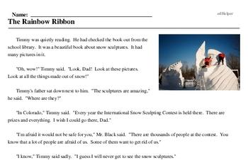Print <i>The Rainbow Ribbon</i> reading comprehension.