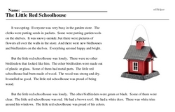 Print <i>The Little Red Schoolhouse</i> reading comprehension.