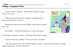 Print <i>Mindy's Surprise Party</i> reading comprehension.