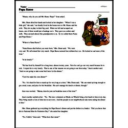 Print <i>Papa Russo</i> reading comprehension.