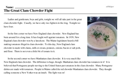Print <i>The Great Clam Chowder Fight</i> reading comprehension.