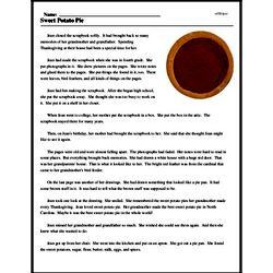 Print <i>Sweet Potato Pie</i> reading comprehension.