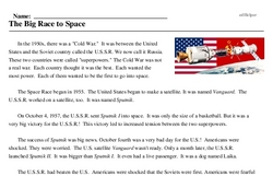 Print <i>The Big Race to Space</i> reading comprehension.