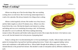 Print <i>What's Cooking?</i> reading comprehension.
