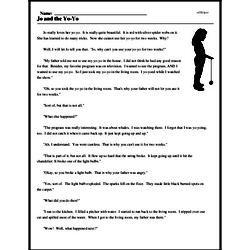 Print <i>Jo and the Yo-Yo</i> reading comprehension.