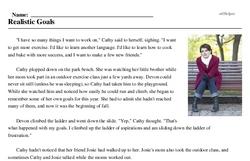 Print <i>Realistic Goals</i> reading comprehension.