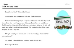 Print <i>Mix for the Trail</i> reading comprehension.