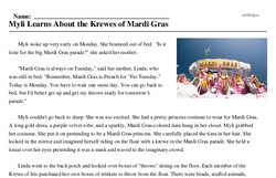 Print <i>Myli Learns About the Krewes of Mardi Gras</i> reading comprehension.