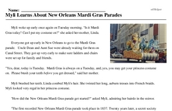 Print <i>Myli Learns About New Orleans Mardi Gras Parades</i> reading comprehension.