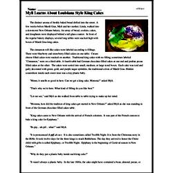 Print <i>Myli Learns About Louisiana Style King Cakes</i> reading comprehension.