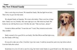 Print <i>My New Friend Sandy</i> reading comprehension.