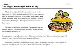 Print <i>The Biggest Hamburger You Can Buy</i> reading comprehension.